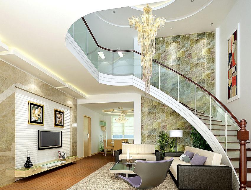 Перила можно вмонтировать в стену или прикрепить к ступенькам