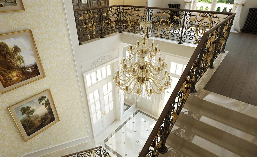 Для классического интерьера с элементами аристократии лучше всего подойдут кованые и литые перила