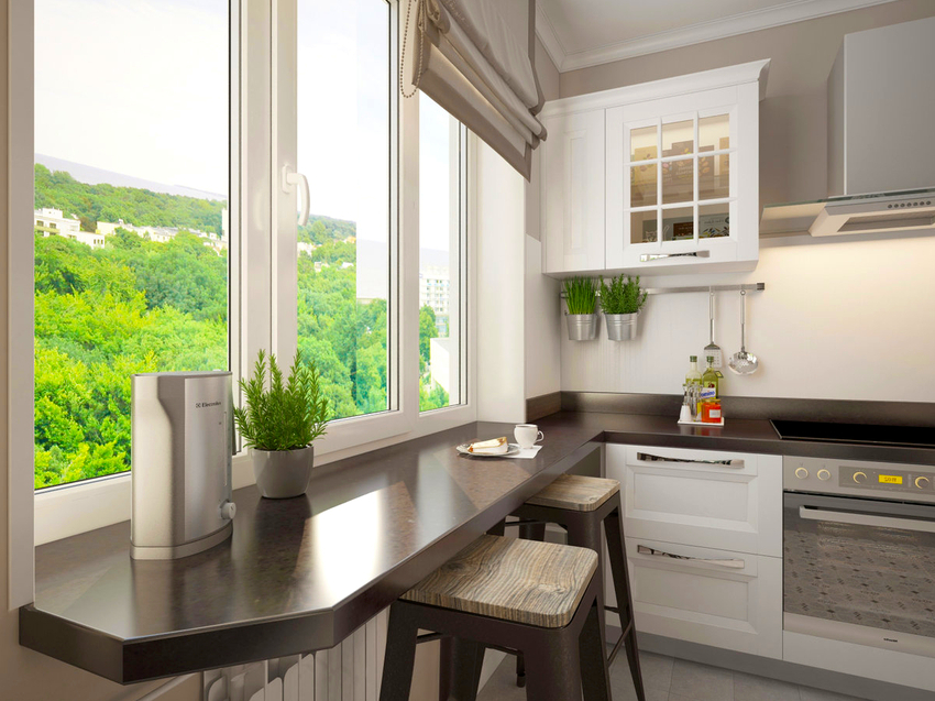Хорошей альтернативой высокому подоконнику на кухне может стать барная стойка