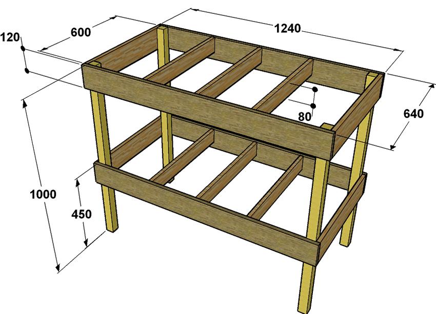 Чертеж деревянного столярного верстака с размерами
