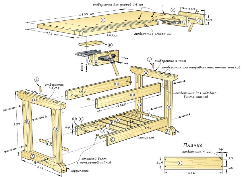 Перед тем как самостоятельно сделать верстак из дерева, следует изготовить все необходимые для его сборки детали