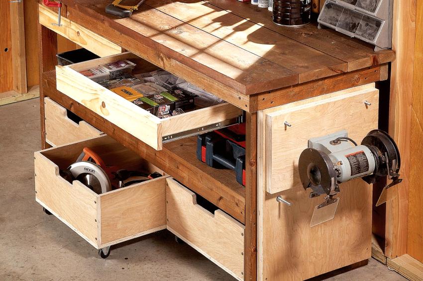 Минусом деревянного верстака считается неспособность выдерживать большие силовые нагрузки