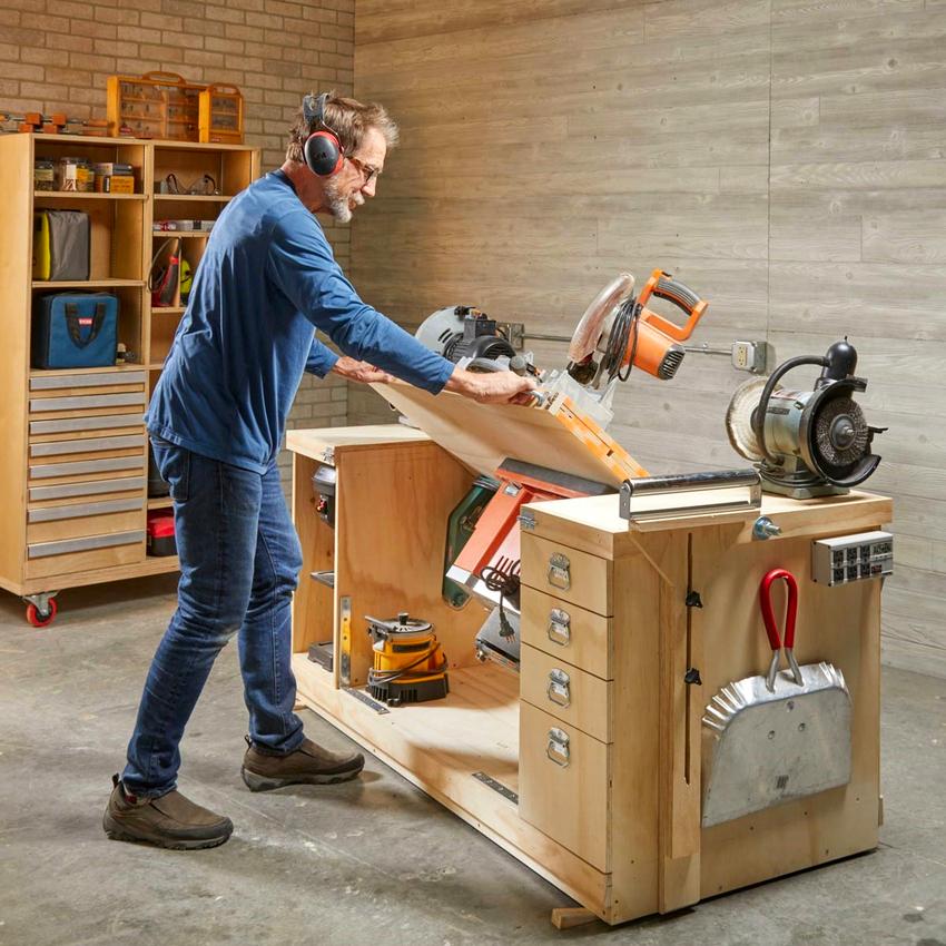 Верстак является отличным местом для обработки различных материалов, а также ремонта или изготовления деталей