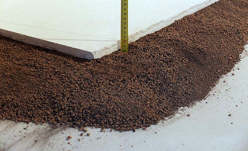 Метод сухой стяжки подразумевает использование керамзита под ГВЛ