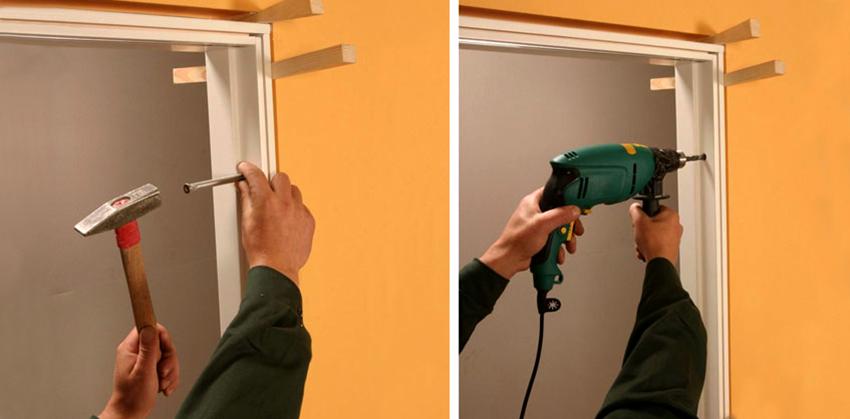 Распорные клинья целесообразно применять для установки межкомнатных и входных дверей