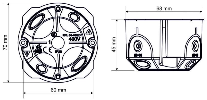 Стандартные размеры круглого подрозетника