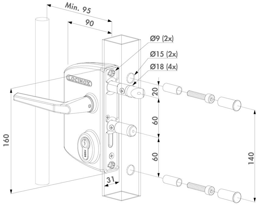 Монтажные размеры накладного замка Locinox