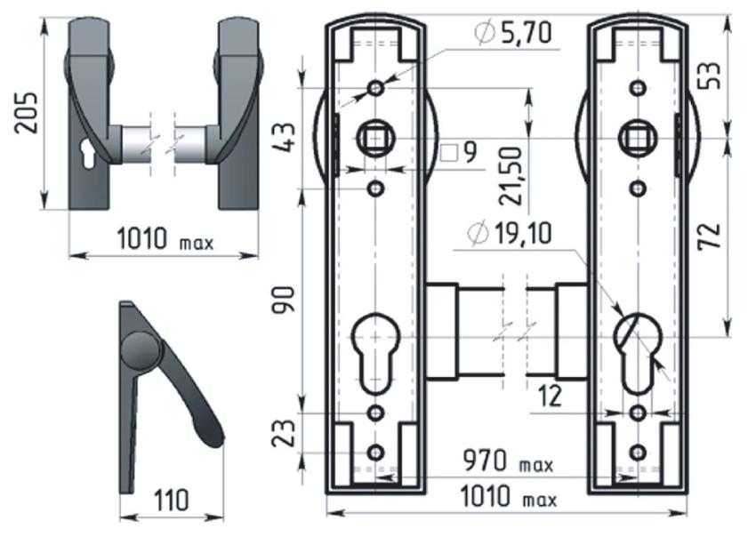 Монтажные размеры врезного замка с ручкой Антипаника