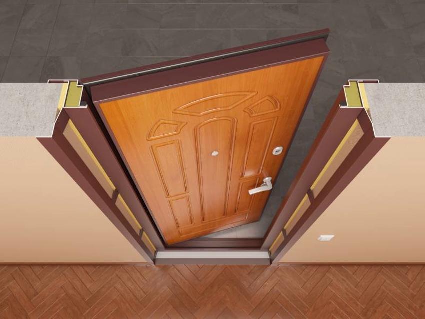После монтажа декоративной накладки дверь монтируется обратно