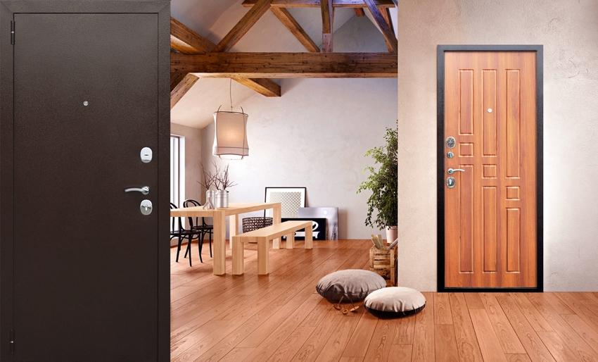 Входная металлическая дверь до и после монтажа накладки