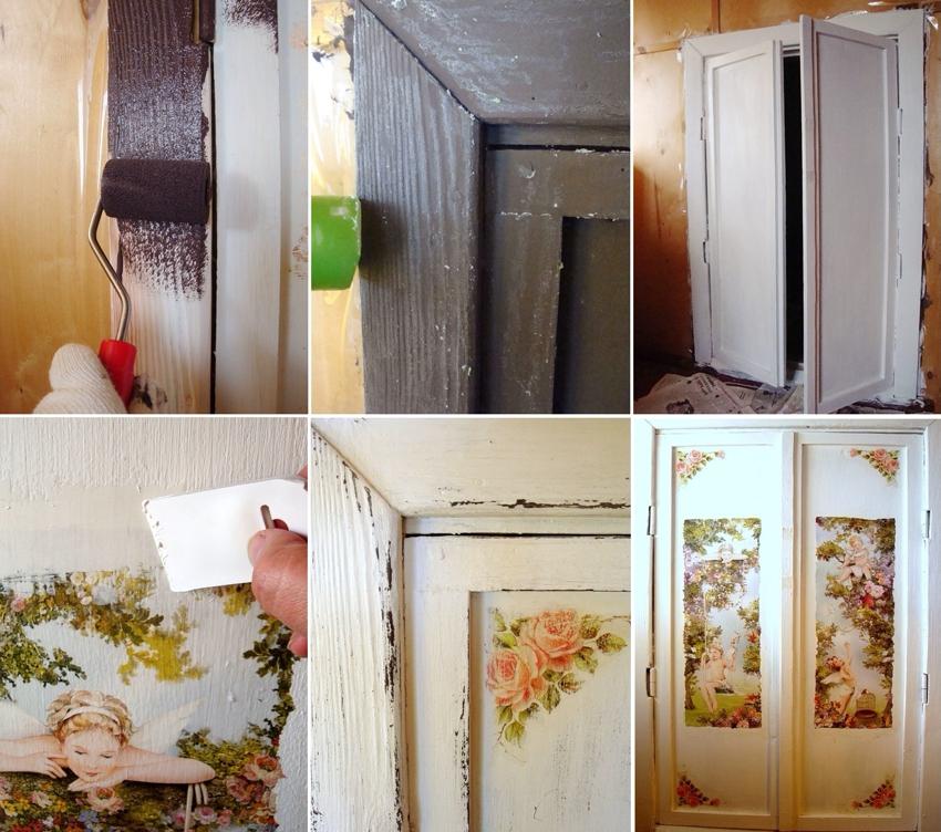 Ремонт старой двери с применением техники декупаж