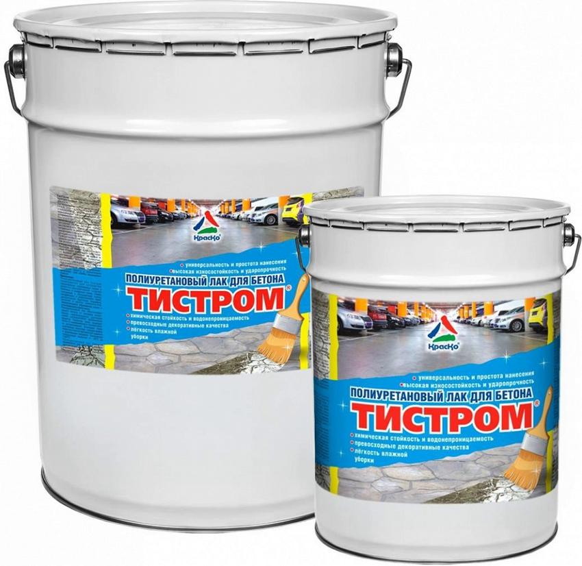 Полиуретановый лак для бетона Тистром от бренда КрасКо