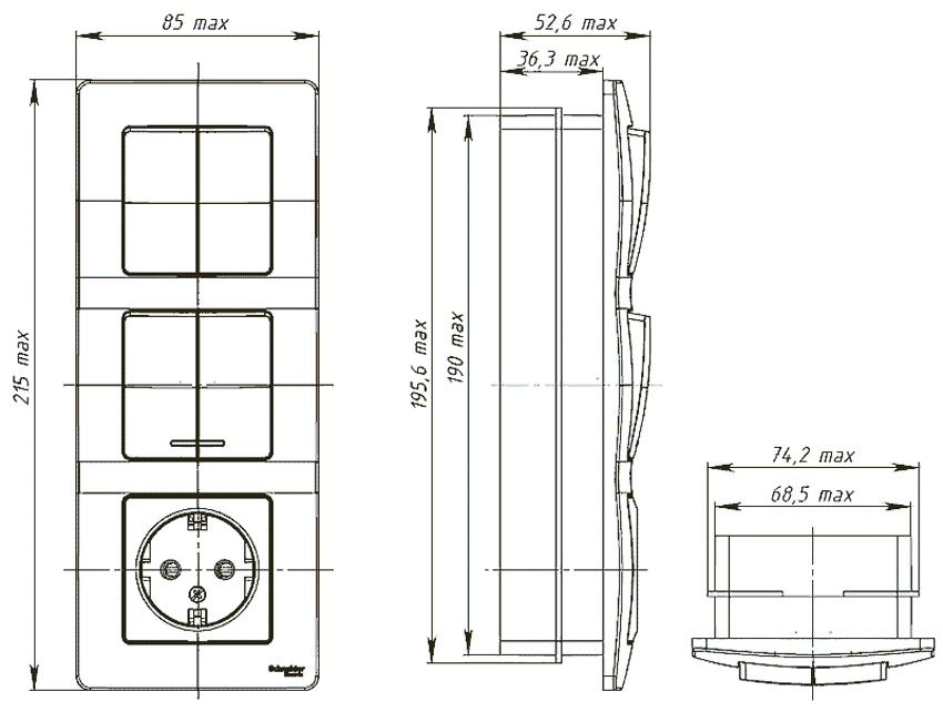 Размеры тройного блока с розеткой и выключателями