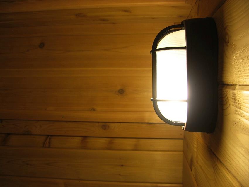 Светильник в парной с галогенной лампой