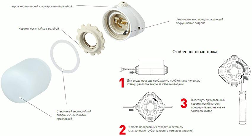 Схема монтажа термостойкого стеклянного светильника с керамическим патроном для сауны