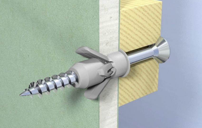 Расположение дюбеля и самореза внутри конструкции из гипсокартона