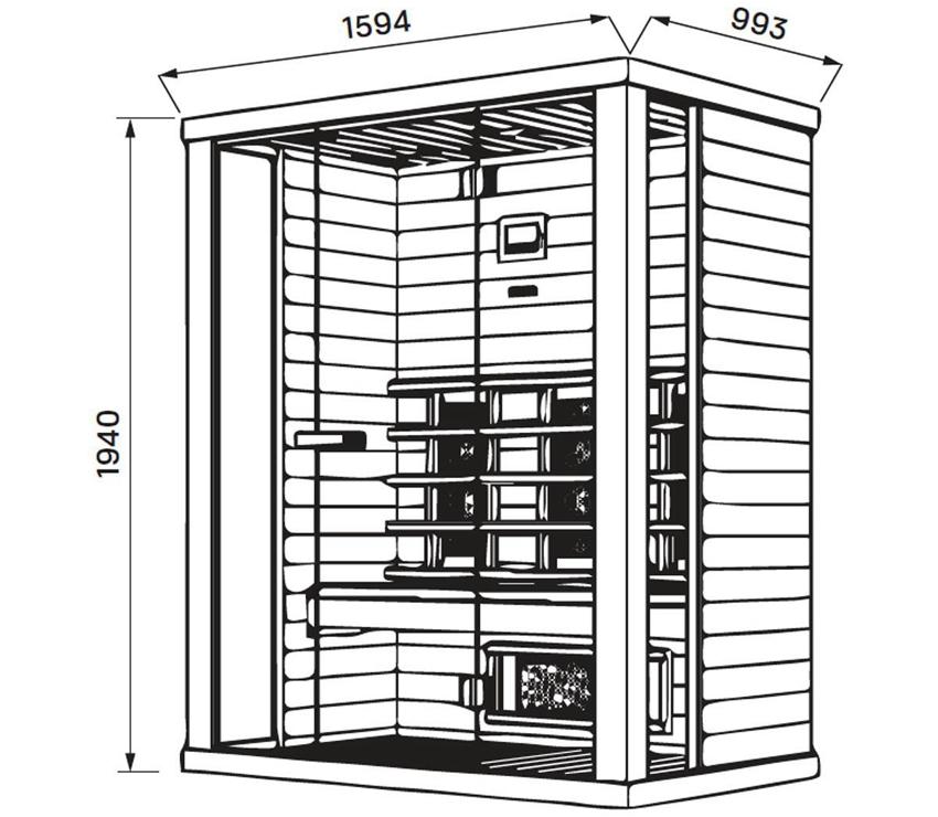 Установочные размеры компактной инфракрасной кабины