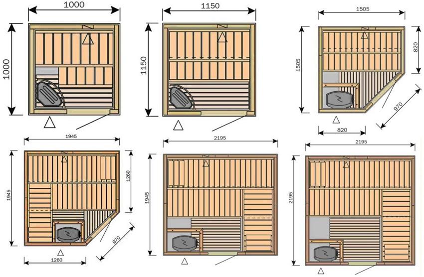 Монтажные размеры различных вариантов кабинок с размерами стенок от 1 до 2,19 м