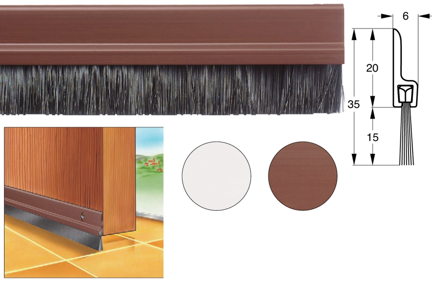 Для межкомнатных дверей можно использовать щеточные уплотнители
