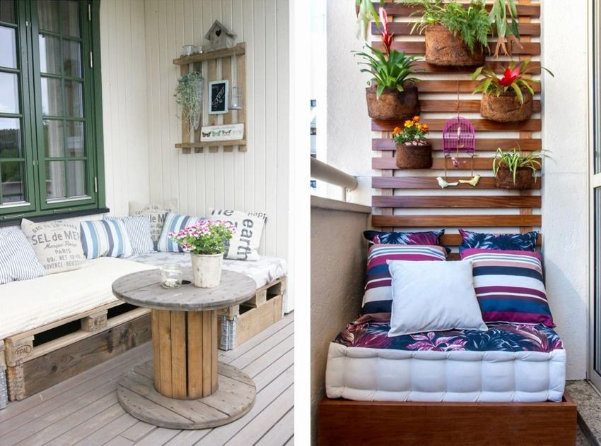 Паллеты могут успешно применяться для изготовления балконной мебели