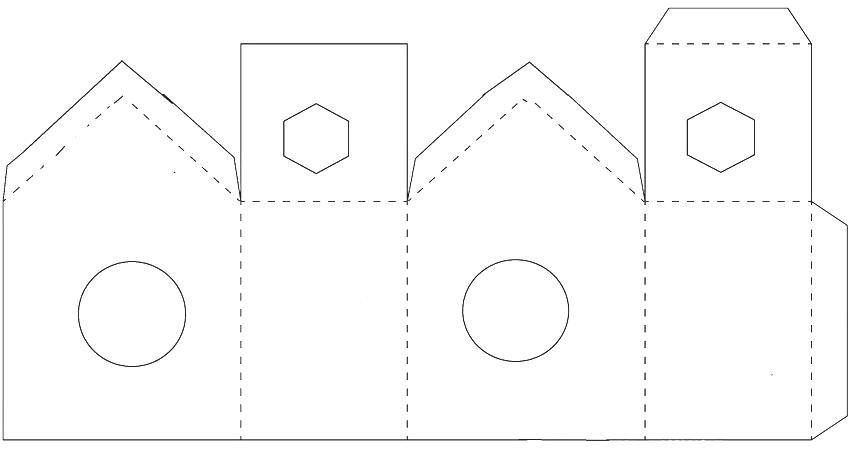 Развертка-схема для изготовления домика для птиц из бумаги