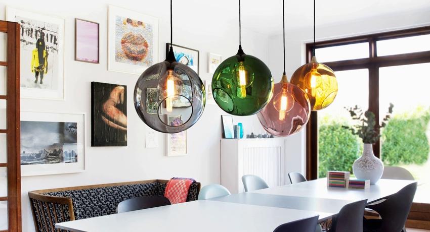 Светильники для кухни подвесные над столом красивое визуальное зонирование