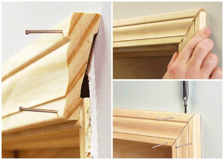 Монтаж деревянного наличника на дверь