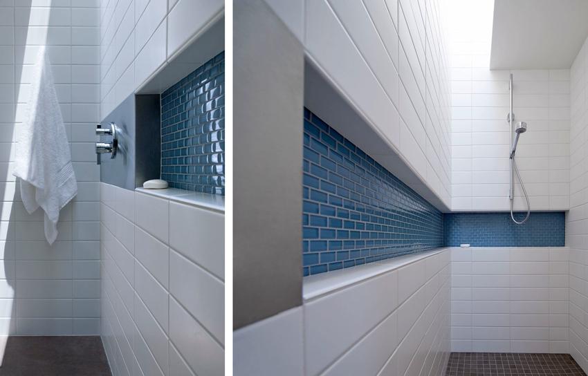 Полки из плитки - самый практичный вариант для ванной комнаты