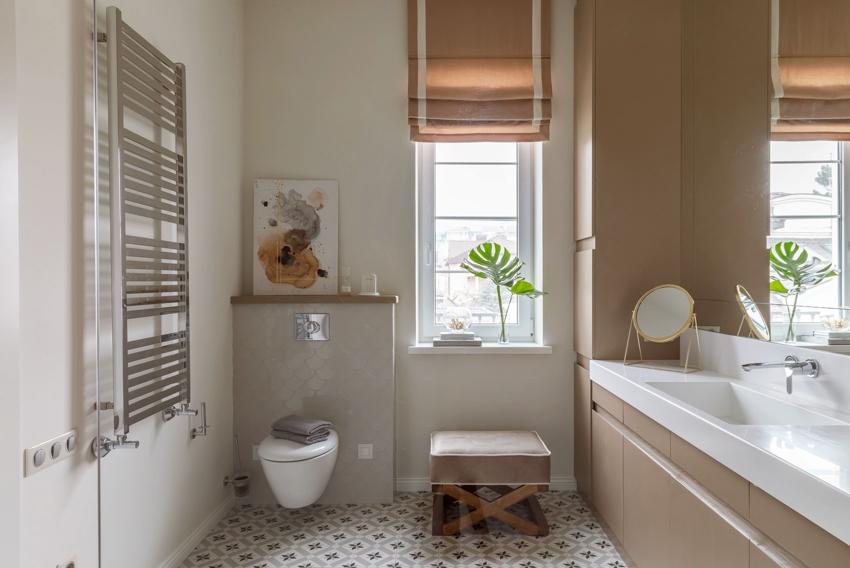 Установка инсталляции позволит иметь в ванной дополнительную поверхность для хранения вещей